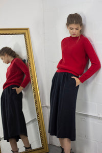 Bramble Bee Red Cashmere Sweater - moss stitch, recycled cashmere