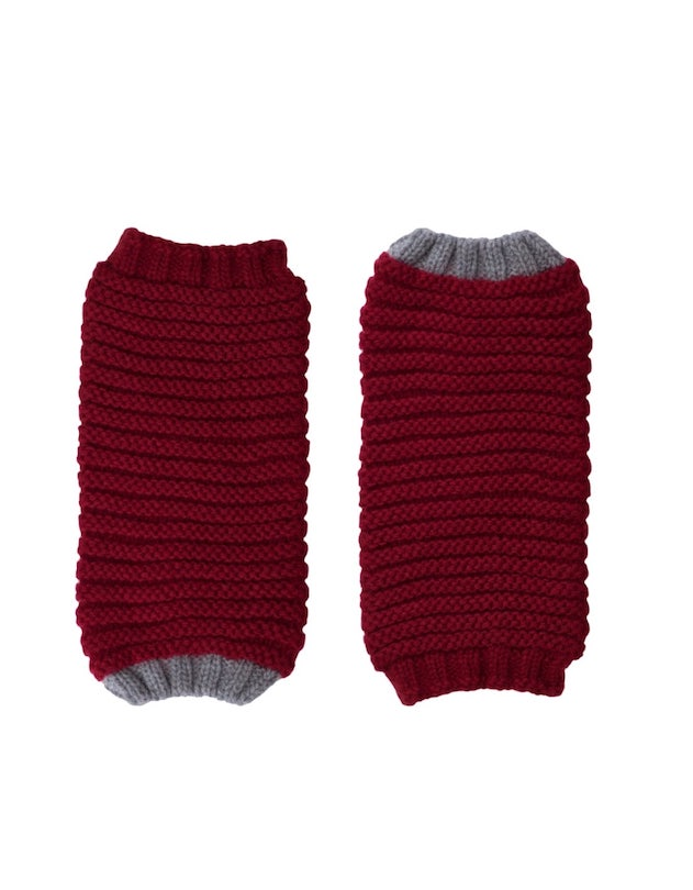 Cosy red fingerless mittens cuff gloves by ally bee in cashmere