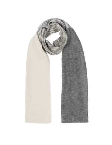 Alpaca Cloudy Stripe Scarf - Alpaca Wool Blend, Grey & Cream