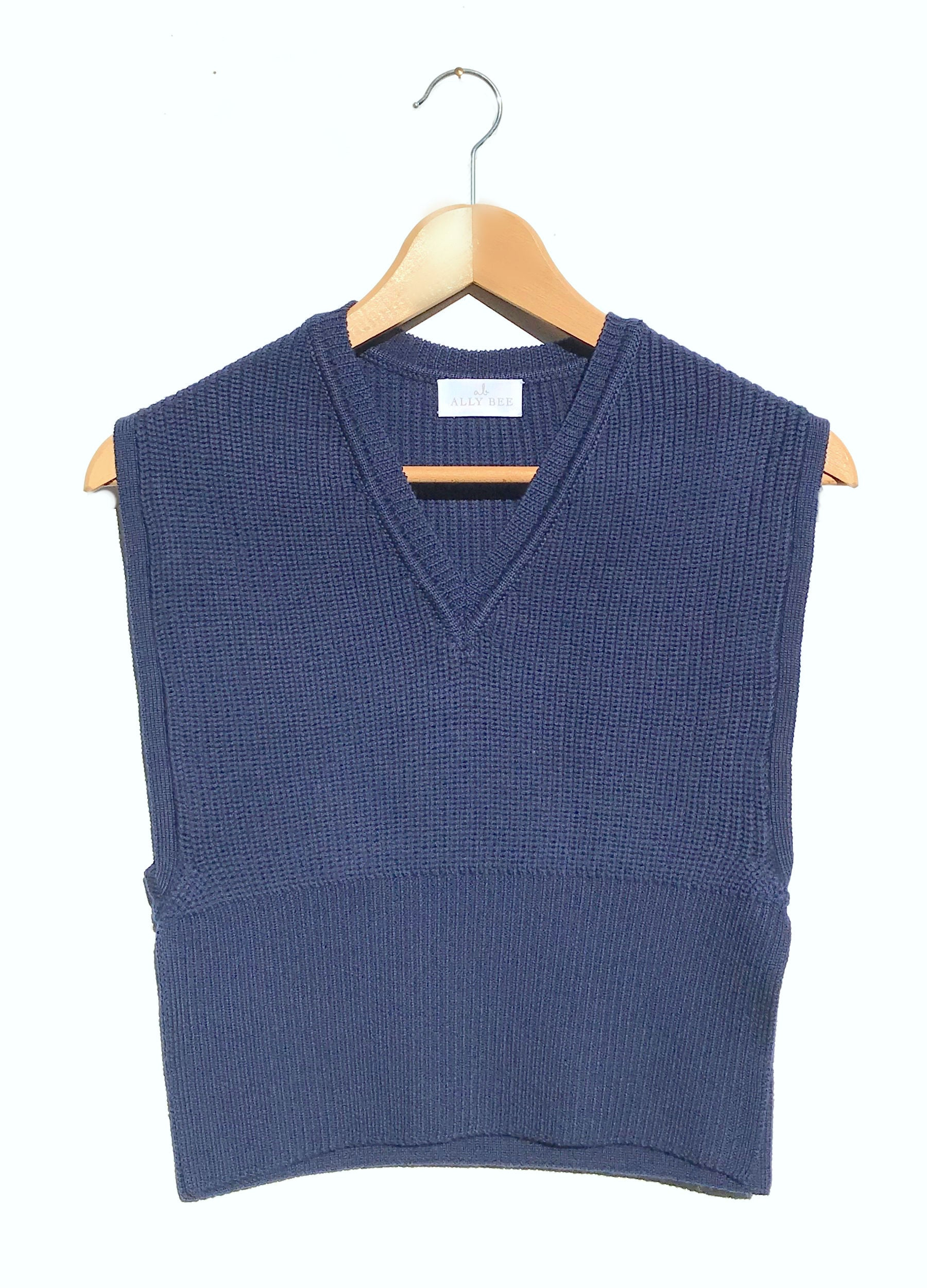 V Neck jumper in blue superfine merino by Ally Bee