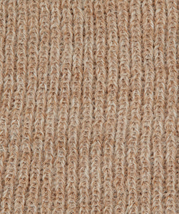 Brown alpaca knitted swatch in fishermans rib knit