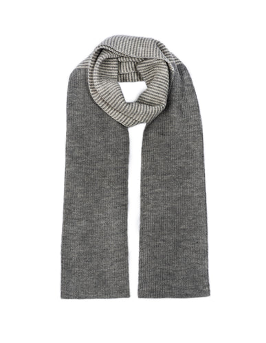 Alpaca Wool Scarf - Grey with cream mid-stripe