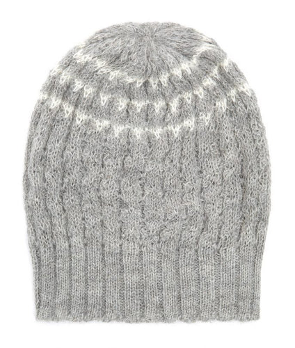 Pure Alpaca Beanie Hat in lace stitch from Ally Bee