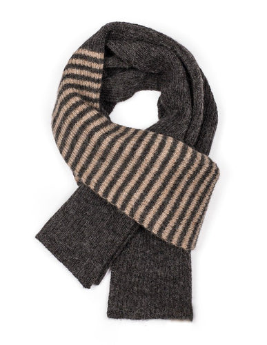 Pure British alpaca scarf in charcoal with stripes by Ally Bee