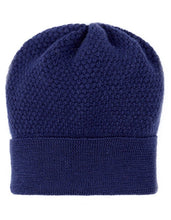 Ladies Wool Blue Beanie Hat in moss stitch by Ally Bee