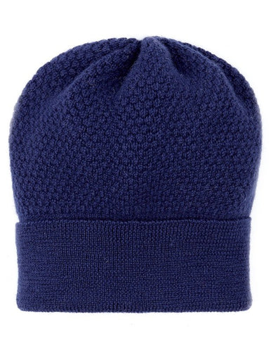 Beanie Hat - Wool, Navy 'Bramble Bee'