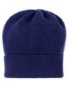 Ladies Wool Blue Beanie Hat knitted by Ally Bee Knitwear
