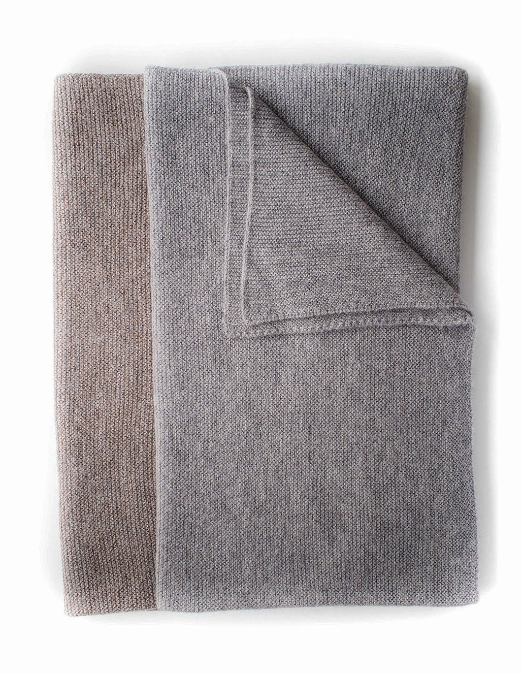 Pure alpaca knitted blanket in taupe & grey by Ally Bee