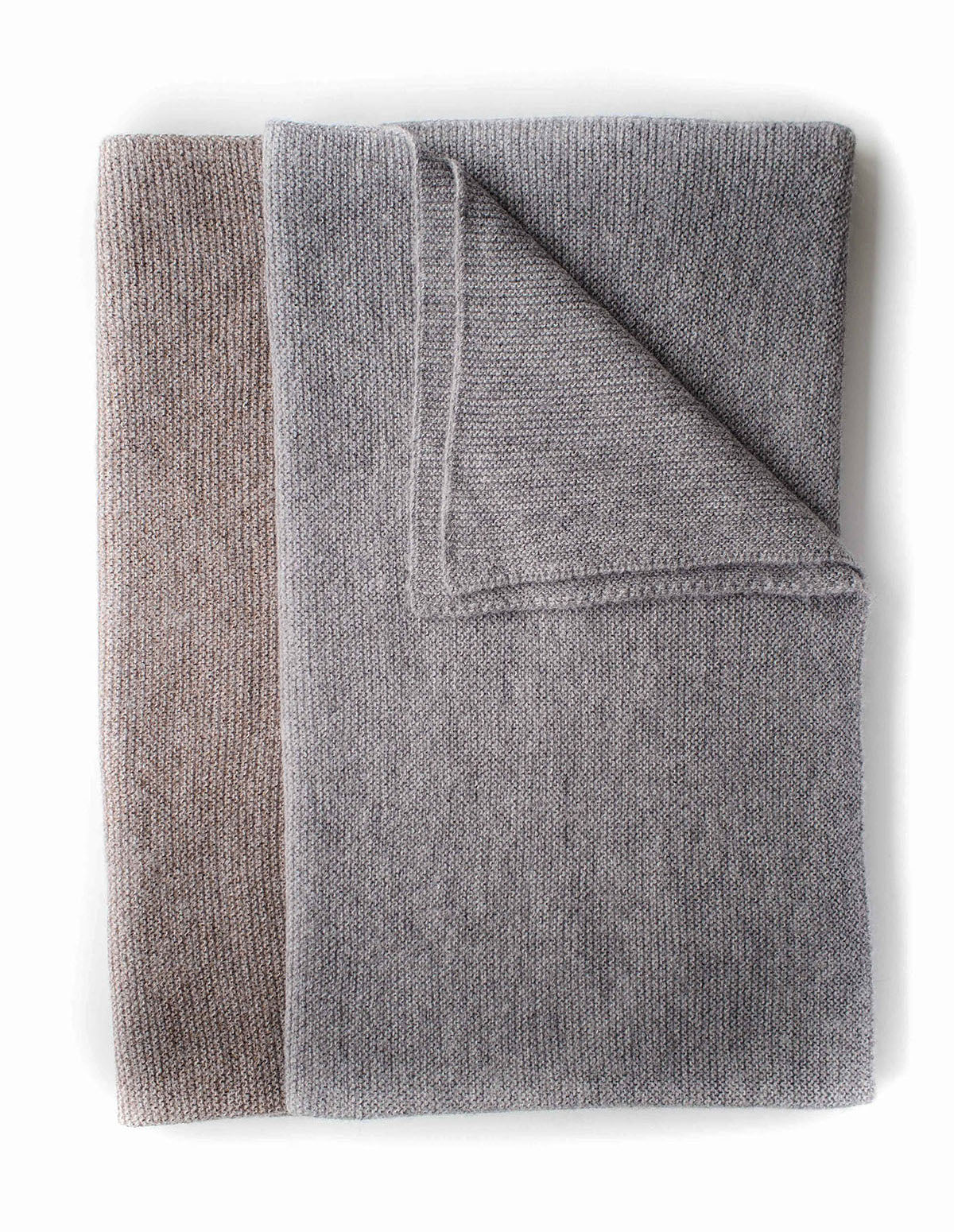 Pure British Alpaca blanket in Taupe & Grey by Ally Bee Knitwear