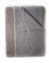 Blanket throw in pure British alpaca yarns of Taupe & Grey