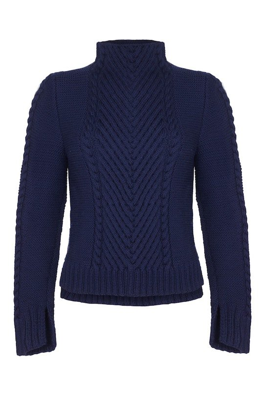 Hand-Knitted Crop Chevron Sweater - superfine merino, Blue Navy