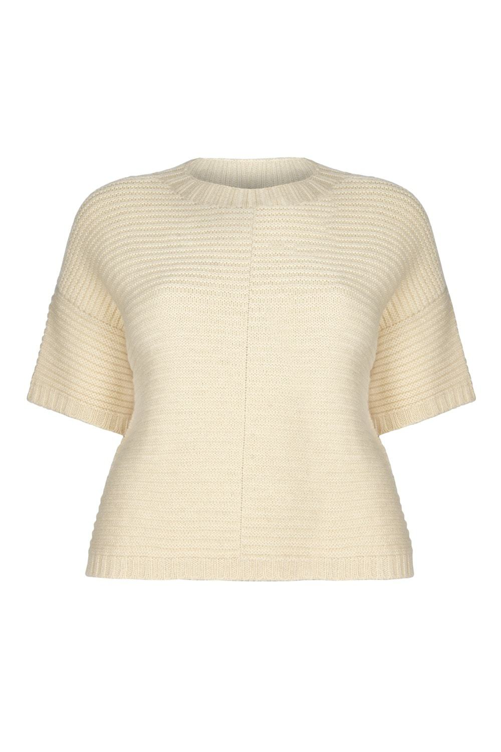 Ally Bee Cream Poncho jumper in ethical wool