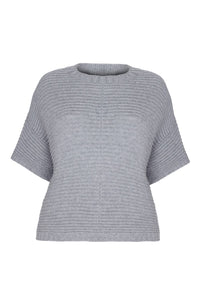Poncho Jumper in grey cashmere merino eco yarns by Ally Bee