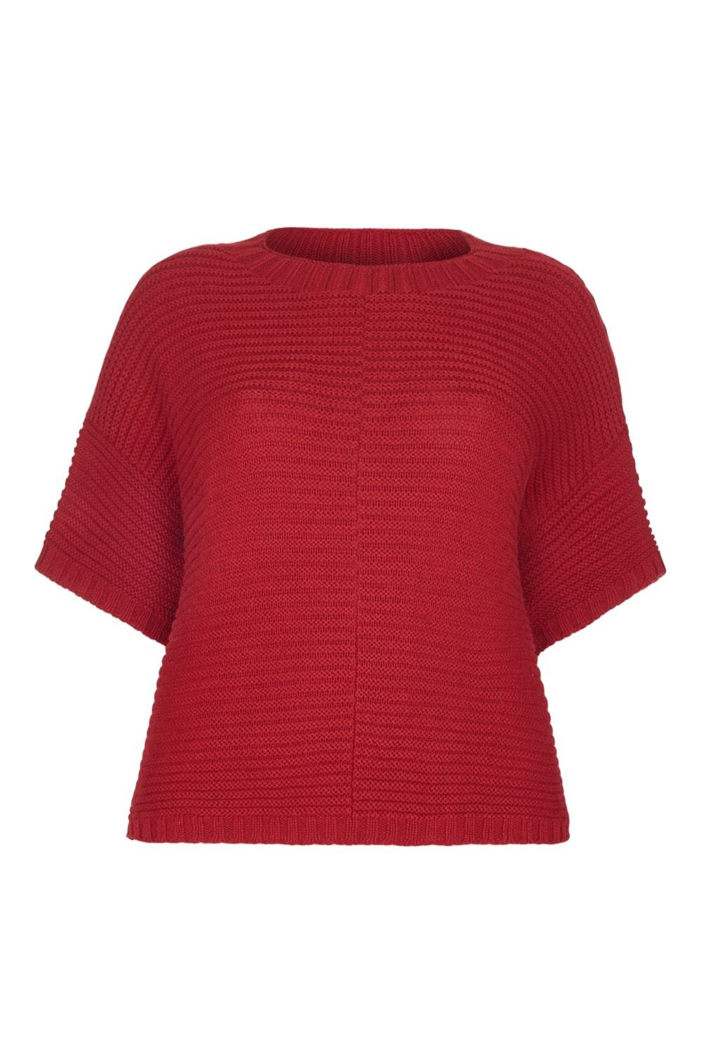 Poncho Jumper - Cashmere Merino CRADLE TO CRADLE® yarn, Red
