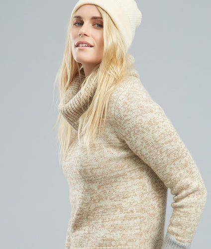 Roll neck alpaca jumper in Brown Marl by Ally Bee
