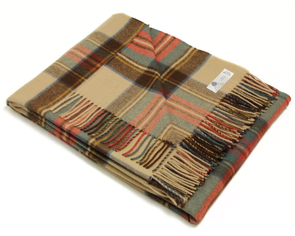 Merino Wool Tartan Throw Blanket in Antique Dress Stewart