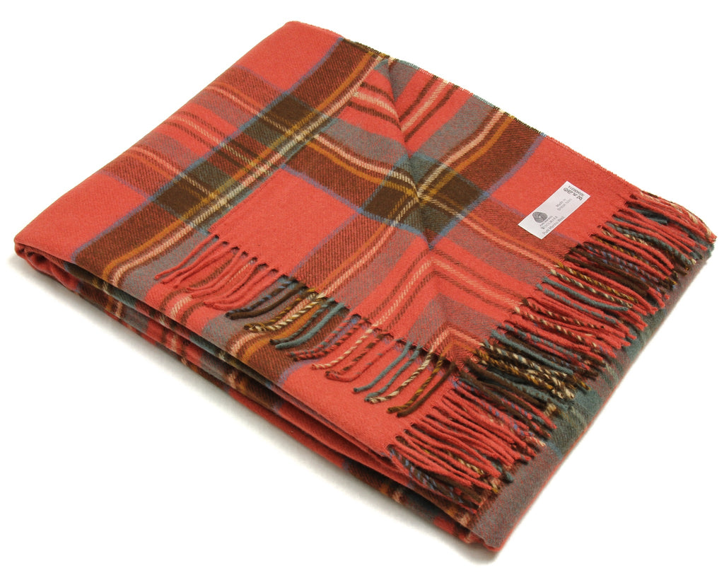 Merino Wool Tartan Throw Blanket in Antique Royal Stewart
