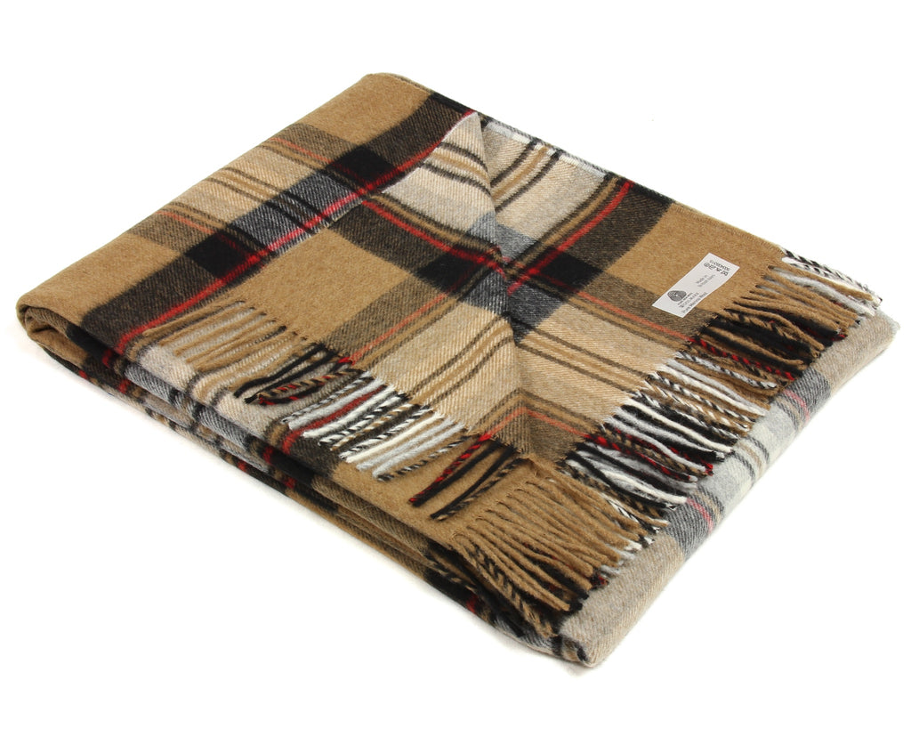 Merino Tartan Throw Blanket in Camel Stewart