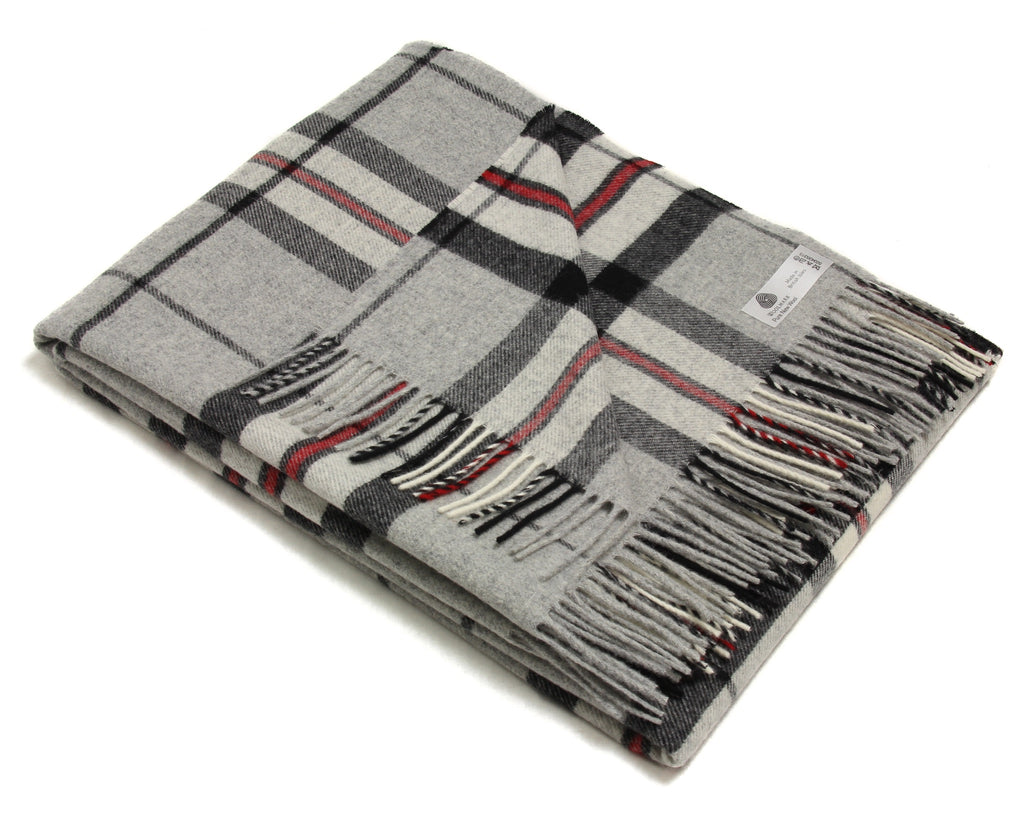 Merino Wool Tartan Throw Blanket in Gray Thompson