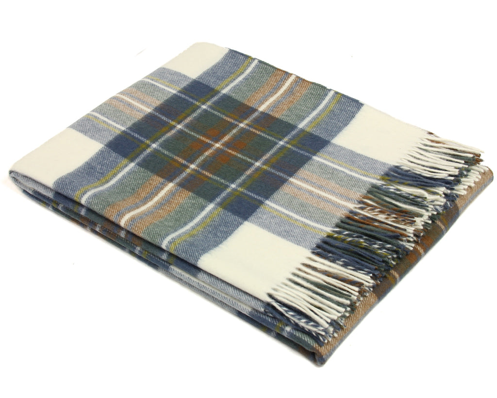 Bronte Tartan Throw Blanket - Merino Wool (Muted Blue Stewart)