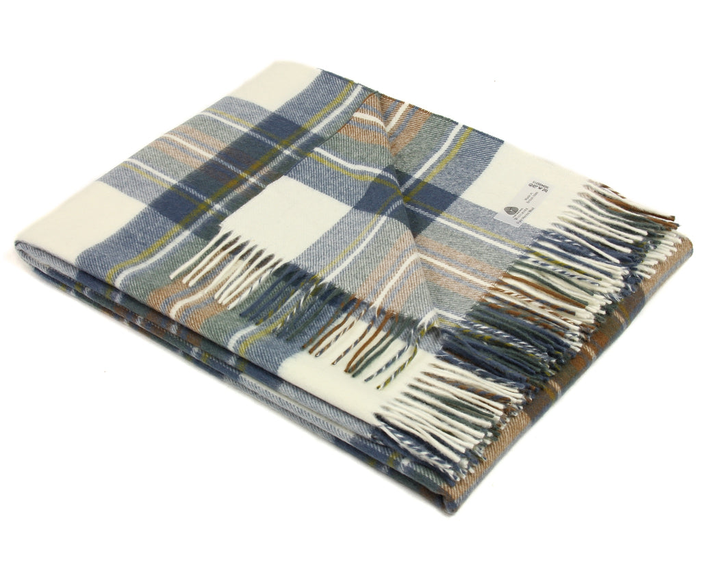 Merino Wool Tartan Throw Blanket in Muted Blue Stewart