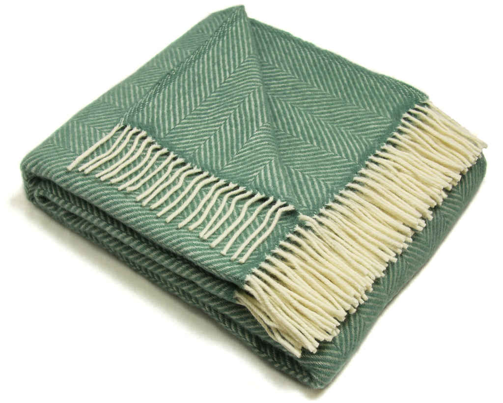 Lifestyle Fishbone Wool Throw Blanket in Sea Green