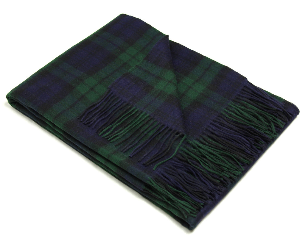Merino Wool Tartan Throw Blanket in Black Watch - Clearance