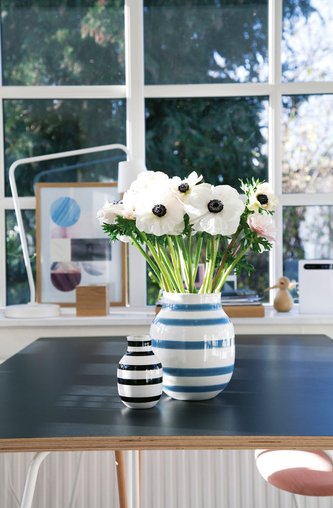 Omaggio Ceramic Vase in White and Light Blue - Clearance