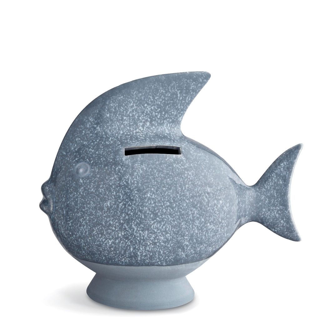 Kahler Sparedyr - Ceramic Fish-Shaped Piggy Bank - Small (Gray-Blue)