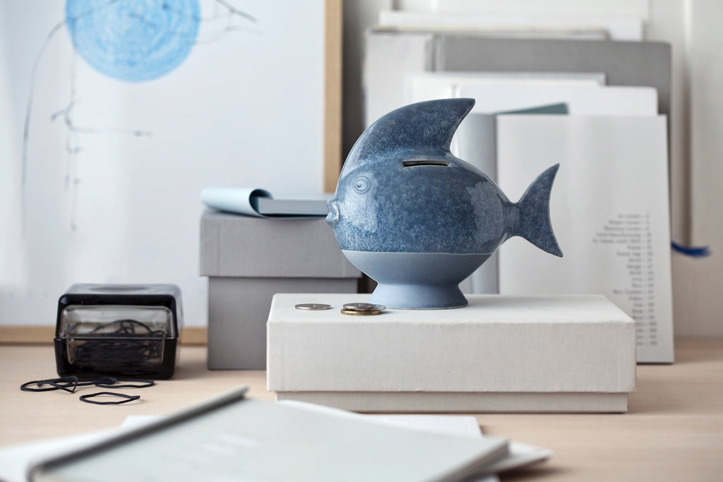 Sparedyr Fish Ceramic Piggy Bank in Gray Blue