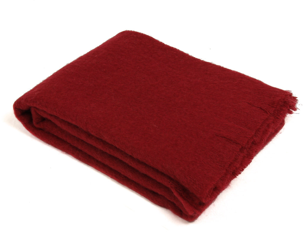 Mohair Throw Blanket by Cape Mohair (Merlot Red)