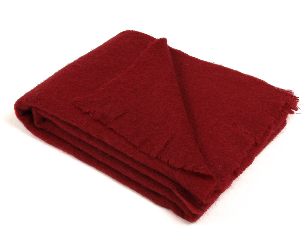 Mohair Throw Blanket in Merlot Red - Clearance