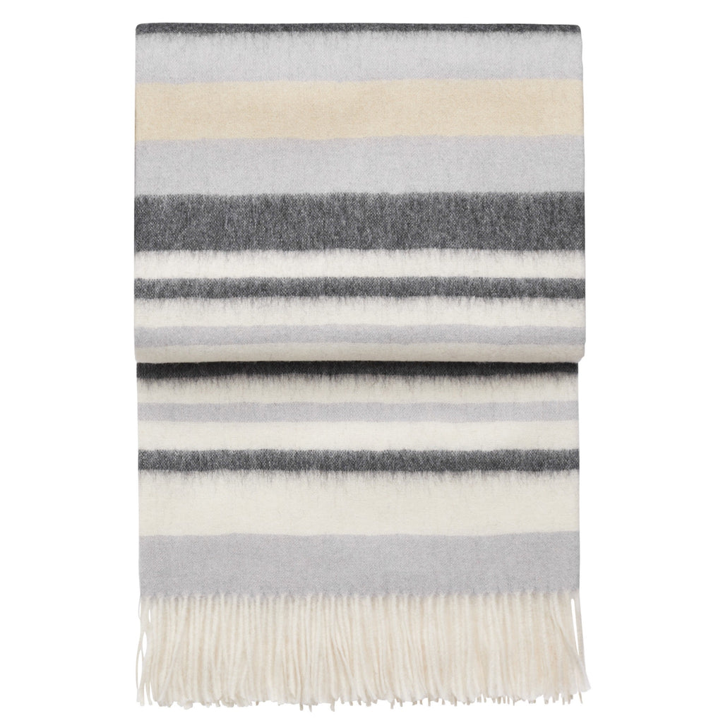 Elvang Cascade Striped Alpaca & Wool Throw (Black / Gray / Ivory)