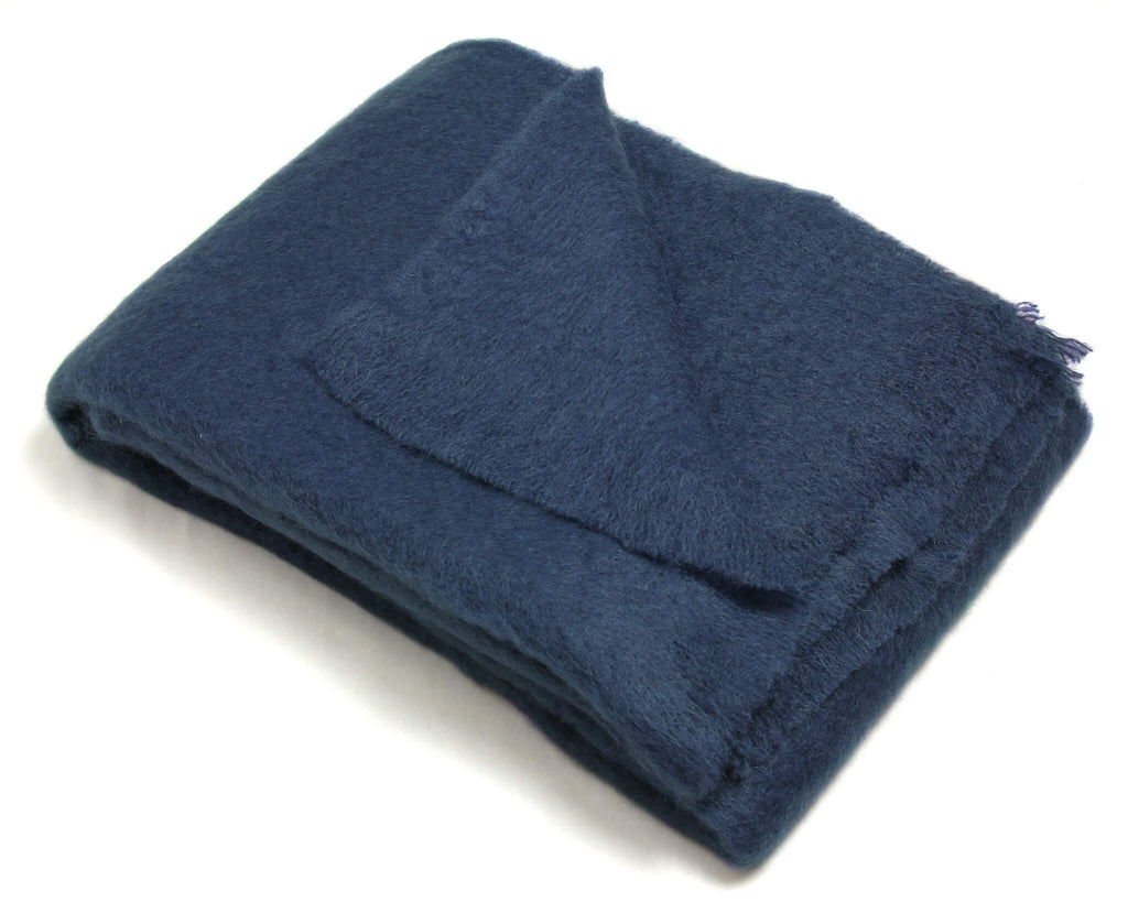 Mohair Throw Blanket in Midnight Blue - Clearance