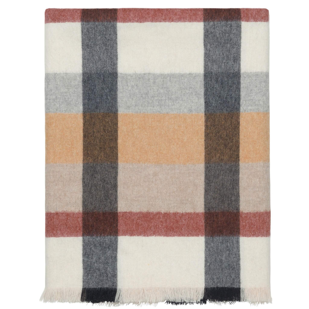 Folded alpaca throw on a white background. It's a dark red, orange, gray, white and beige check.