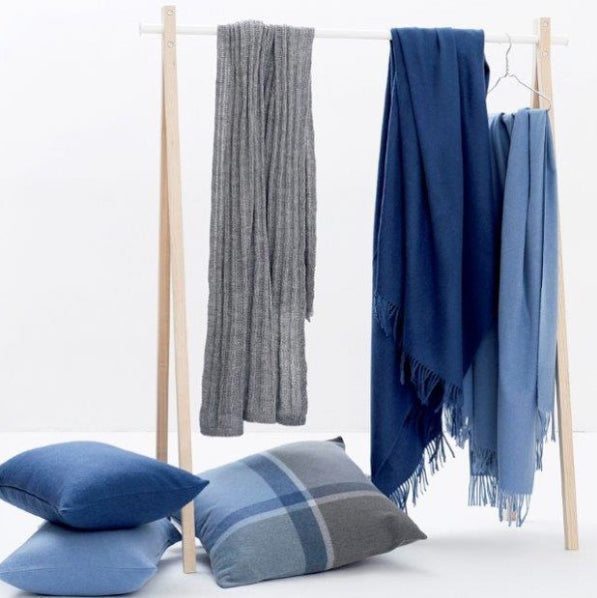 Classic Alpaca & Wool Throw Blanket in Atlantic Blue