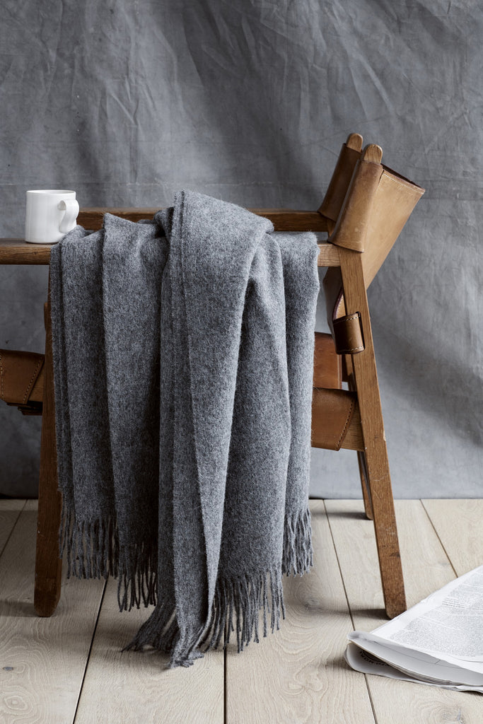 Classic Alpaca & Wool Throw Blanket in Gray