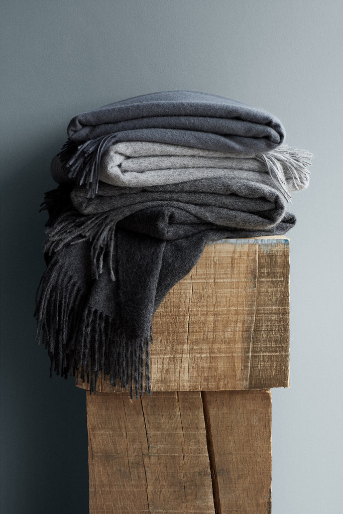 Classic Alpaca & Wool Throw Blanket in Dark Gray