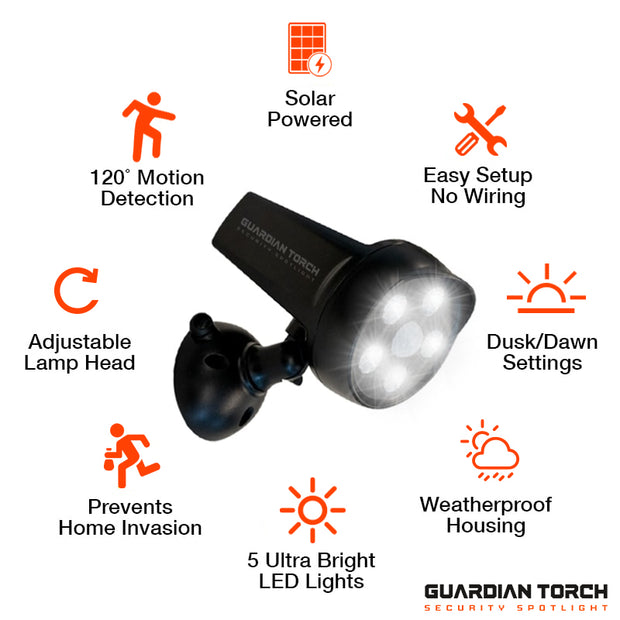 Guardian Torch Solar-Powered Security Light Product Features