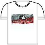 Reclaim Armistice Day T-Shirt: V-Neck style - (White or Asphalt Grey)