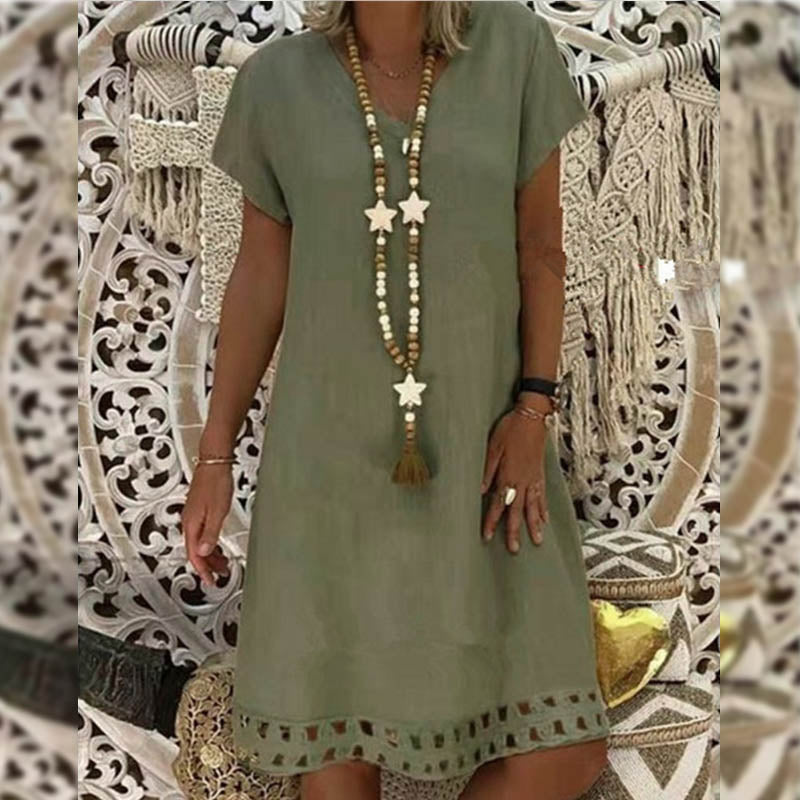 Summer V Neck Hollow-Out Hem Kaftan Bikini Cover Up Dress