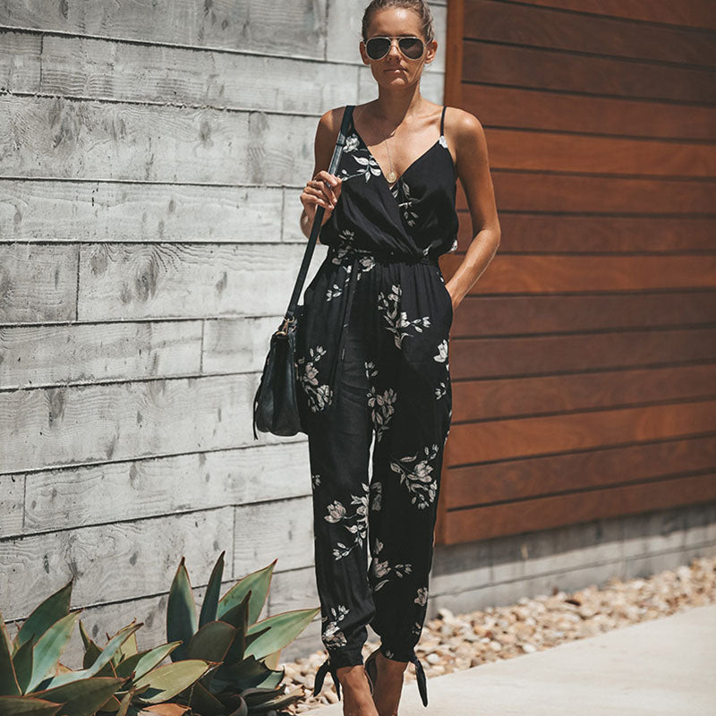 Ladies Flower Print Bodysuit Wide Leg Pants Long Trousers
