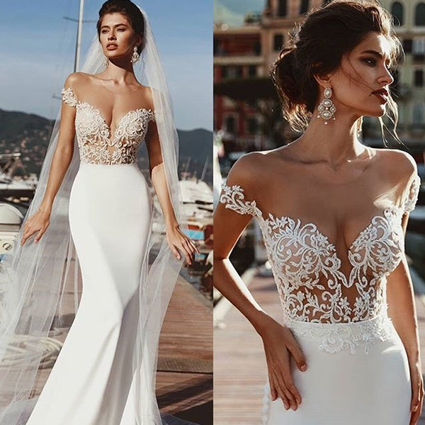 Full Length Bridal Gown Sexy Cap Sleeve Bridal Wedding Gown