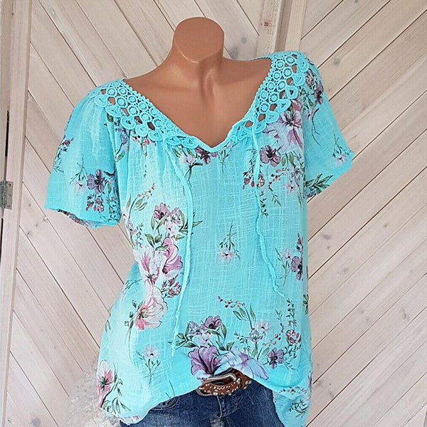 Boho Short Sleeve Floral Shirt Blouse