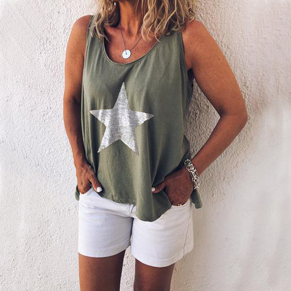 Sleeveless Round Neck Pentagram Print Vest