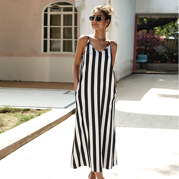 Fahsion 5 Colors Stripe Print Maxi Dress