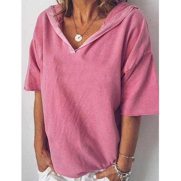 Loose T Shirts Fashion Ladies Solid Color Casual Blouse Shirt