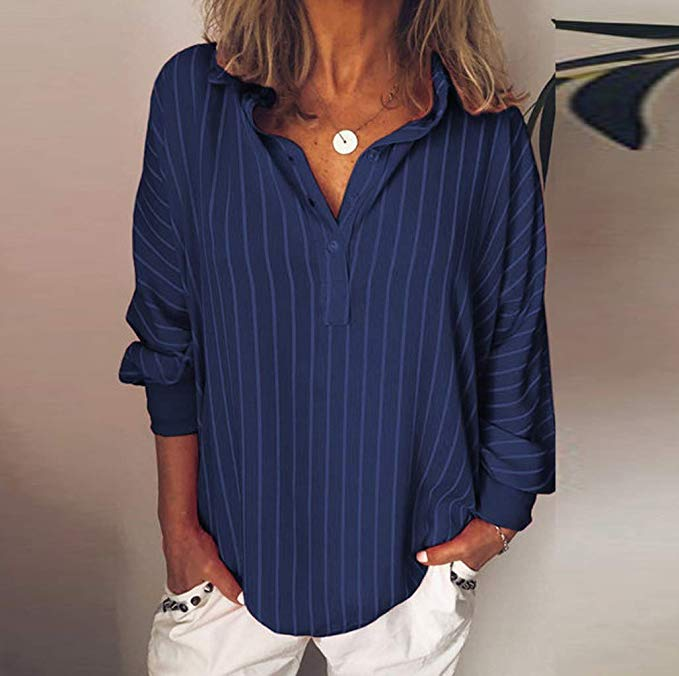 Loose Casual Striped Button Lapel girl Long Sleeve Shirt Top Blouse