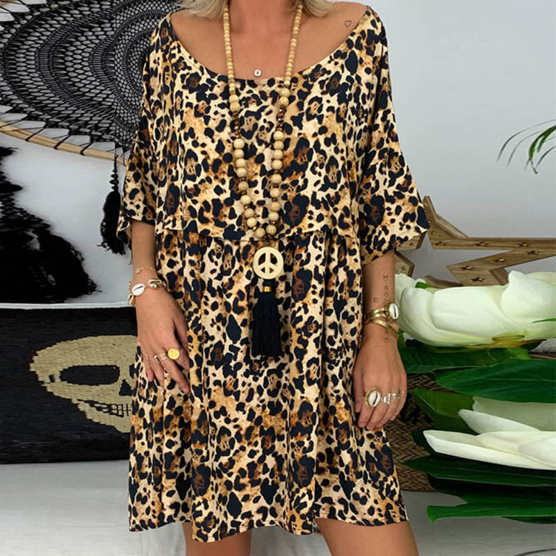 Loose Leopard Print Half Sleeve Mini Dress