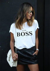 Boss Letter Print T Shirt Women Short Sleeve